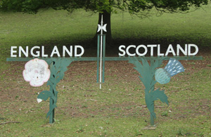 England - Scotland Border sign